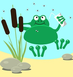 Frog resting swamp reeds and midge vector image