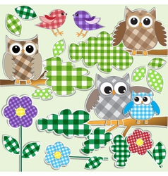 owls and birds in forest vector image vector image
