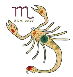 Scorpio zodiac sign retro vector