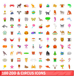 100 zoo and circus icons set cartoon style vector image vector image