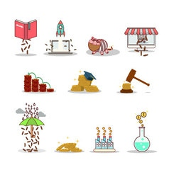 Business and investment isolated cartoon pack vector image vector image