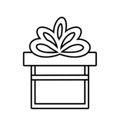 gift box ribbon give party linear vector image