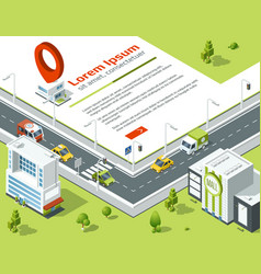 isometric 3d city conceptual poster with highway vector image
