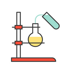 test tube pouring agent to flask vector image