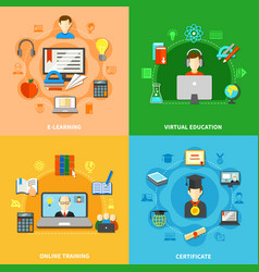 four e learning icon set vector image