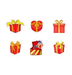 gift box icon set cartoon style vector image