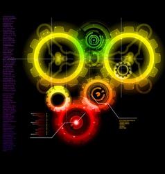 glowing techno gears vector image vector image