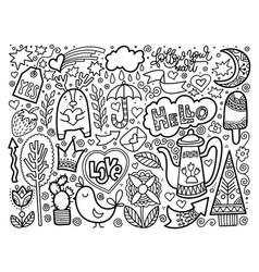 set of doodle sketch drawing nice elements black vector image vector image