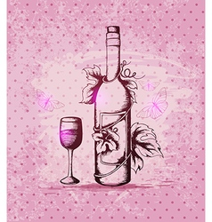 Vintage hand drawn bottle of wine vector image vector image