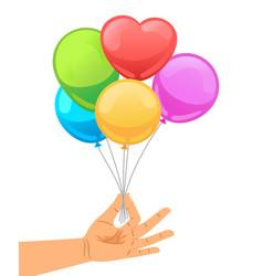 balloon set in human hand vector image