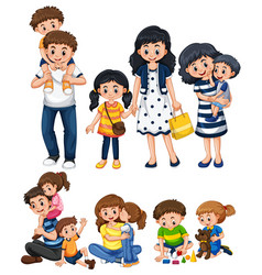 different activities with father and mother vector image