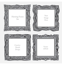 elegant antique square picture frame vector image vector image