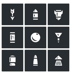Set of ammunition icons arrow bullet vector