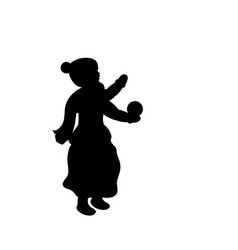 silhouette girl winter girl throws snow vector image
