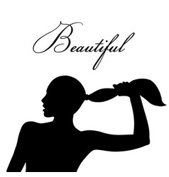 silhouette of woman head face in profile vector image