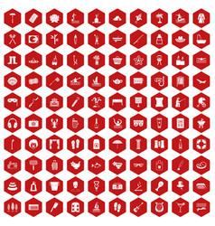 100 recreation icons hexagon red vector