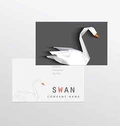 3d origami low polygon swan business card vector image