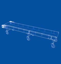 3d outline conveyor belt rendering of 3d vector