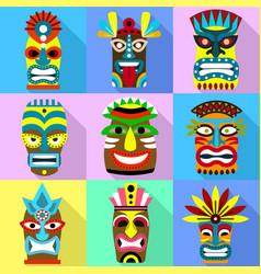 Aboriginal mask icon set flat style vector