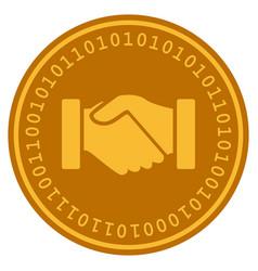 Acquisition handshake digital coin vector