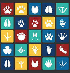 Animal foot prints icons set on color squares vector