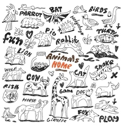 animals - doodles vector image