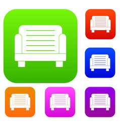 armchair set color collection vector image