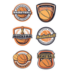 Basketball sport game symbols or icons with ball vector