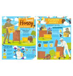 Beekeeping farm apairy bee hive and beekeeper vector