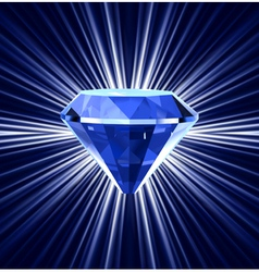 Blue diamond on bright background vector image