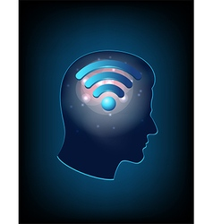 Brain concept with wifi sign vector