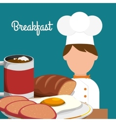 Breakfast chef cooking delicious egg bread vector