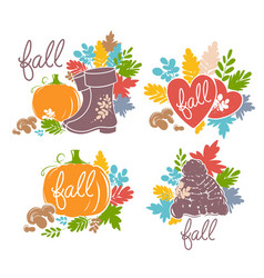 bright autumn set of vector image
