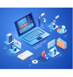 business network database isometric vector image