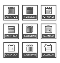 calendar signs and icons set vector image