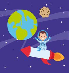Cartoon astronaut boy in a space rocket around the vector