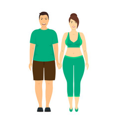 cartoon characters people plus size couple vector image