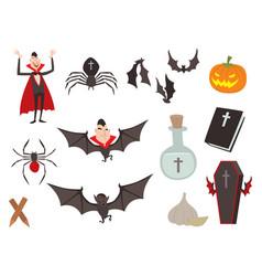Cartoon dracula coffin symbols vampire vector