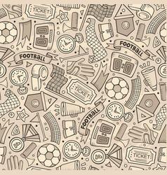 cartoon hand-drawn soccer seamless pattern vector image