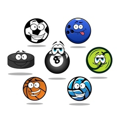 Cartoon sporting balls and puck characters vector image