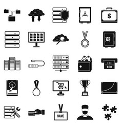 Cash expenditures icons set simple style vector