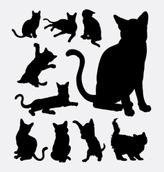Cat action silhouettes vector