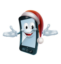 christmas mobile mascot vector image
