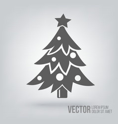Christmas tree icon isolated black on white vector image