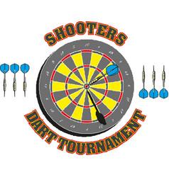 classic dart board target and darts arrow vector image