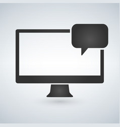 computer and chat bubble icon isolated on modern vector image