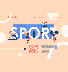concept banner for healthy lifestyle gym courses vector image