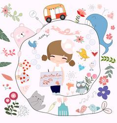 cute artist girl drawing cartoon vector image