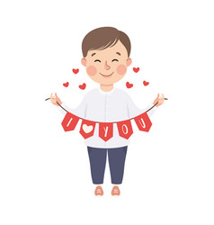 cute boy holding party flags with i love you vector image