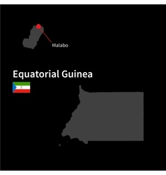 Detailed map of Equatorial Guinea and capital city vector